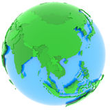 Asia on Earth. Political map of Asia with countries in different shades of green, isolated on white background Stock Photos
