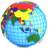 Asia on Earth. Asia, Political Map of the world in four colours on a geographic net,  on white background Stock Photography