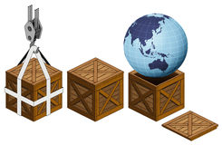 Asia earth world in open wooden crate packing collection  Royalty Free Stock Photography