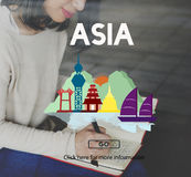 Asia East Continent Informative Culture Graphic Concept.  Royalty Free Stock Photo