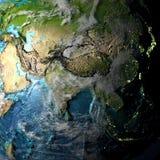 Asia en mapa físico Foto de archivo