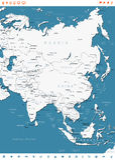 Asia - etiquetas del mapa y de la navegación - ejemplo Fotografía de archivo libre de regalías