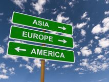Asia, Europe, America Royalty Free Stock Photo