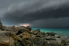 Storm coming above the sea royalty free stock photos
