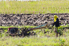 Asia Farmer using tiller tractor in rice field Royalty Free Stock Photos