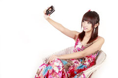 Asia fashion girl self shot Royalty Free Stock Images