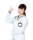Asia female doctor thumb up Royalty Free Stock Images