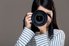 Asia female photographer Stock Photo