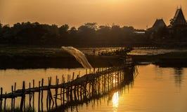Asia Fishermen on bridge fishing Stock Photos