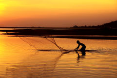 Asia Fishermen are casting nets for fishing. Stock Photography