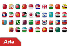 Asia flag buttons Royalty Free Stock Photo