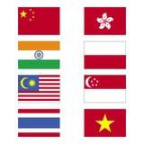 asia flaggor Arkivbilder