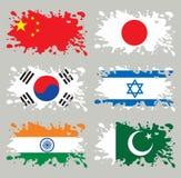 asia flaggor inställd färgstänk stock illustrationer