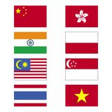 Asia Flags vector illustration