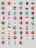 Asia flags badge Royalty Free Stock Images