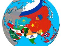 Asia with flags on 3D map. Asia with embedded national flags on blue political 3D globe. 3D illustration royalty free stock photos