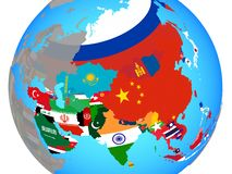 Asia with flags on map. Asia with national flags on blue political globe. 3D illustration stock photos