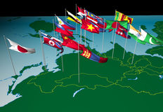 Asia flags on map (North view). Flags of nations of South and East Asia flying at their capital cities (North view vector illustration