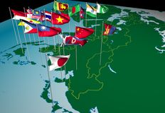 Asia flags on map (Northeast view). Flags of nations of South and East Asia flying at their capital cities (Northeast view Royalty Free Stock Photography