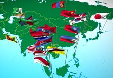 Asia flags on map (Southeast view) royalty free illustration