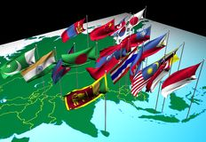 Asia flags on map (Southwest view). Flags of nations of South and East Asia flying at their capital cities (Southwest view vector illustration