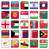 Asia Flags Square Buttons Stock Photos