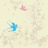 Asia floral y pájaro stock de ilustración