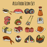 Asia Food Icon Set Colored Stock Photo