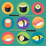 Asia food icon set with sushi rolls isolated vector illustration Stock Image