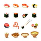 Asia Food Icon Set. With sushi rolls sashimi noodle miso isolated vector illustration Stock Photos
