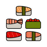 Asia food icon set with sushi rolls sashimi noodle Stock Photography