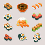 Asia food icons. Rolls sushi, miso soup  Royalty Free Stock Image