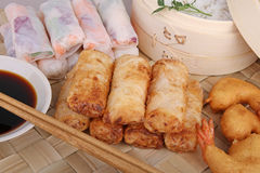 Asia food, spring roll and fritter shrimp Royalty Free Stock Photos