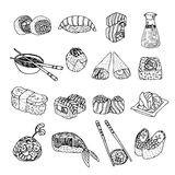 Asia food sushi icons set Royalty Free Stock Image