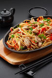 Asia food. Udon noodles with chicken Stock Photos
