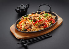Asia food. Udon noodles with pork Royalty Free Stock Image