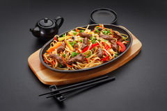Asia food. Udon noodles with veal Stock Photography