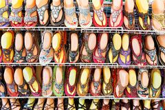 Asia footwear counter Royalty Free Stock Photography