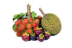 Asia fruit on white background. Rambutan, mangosteen and durian on white background stock photos
