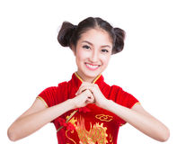 Asia girl with cheongsam respecting Royalty Free Stock Images
