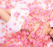 Asia girl in flower Stock Photography