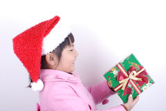 Asia girl with gift in hands Stock Photography