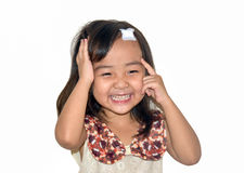 Asia girl head accident white isolate Royalty Free Stock Images