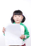 Asia girl holding paper Stock Photography