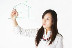 Asia girl painting Stock Photos