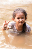 Asia girl in river Stock Photos