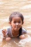 Asia girl in river Royalty Free Stock Images