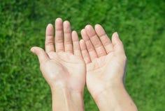 Asia girl two hand to pray Stock Photo