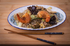 Asia Glass noodles, prawn and vegetables on bamboo board Royalty Free Stock Image