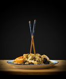 Asia glass noodles, prawn and vegetables Royalty Free Stock Image